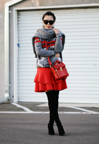 hallie daily blogger ruffle winter sweater red skirt red bag skirt sweater shoes sunglasses bag