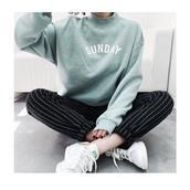 pants,stripes,striped pants,comfy,bottoms,sweater,sunday,blue,green,white,shirt