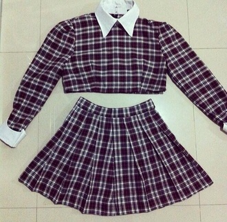 skirt red tartan checkered blouse