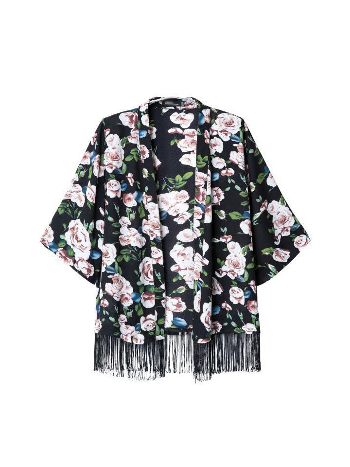 Women's stylish fifth of the sleeve bat sleeve printed fringed cardigan jacket