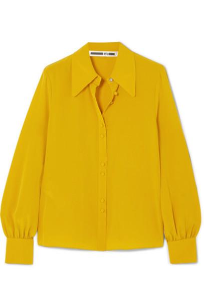 McQ Alexander McQueen shirt embellished silk mustard top