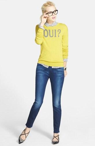 women sweater french yellow lemongrass preppy back to school glasses