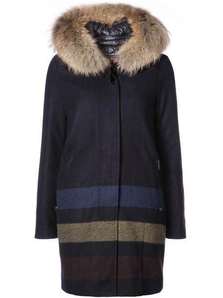 Woolrich coat women blue wool