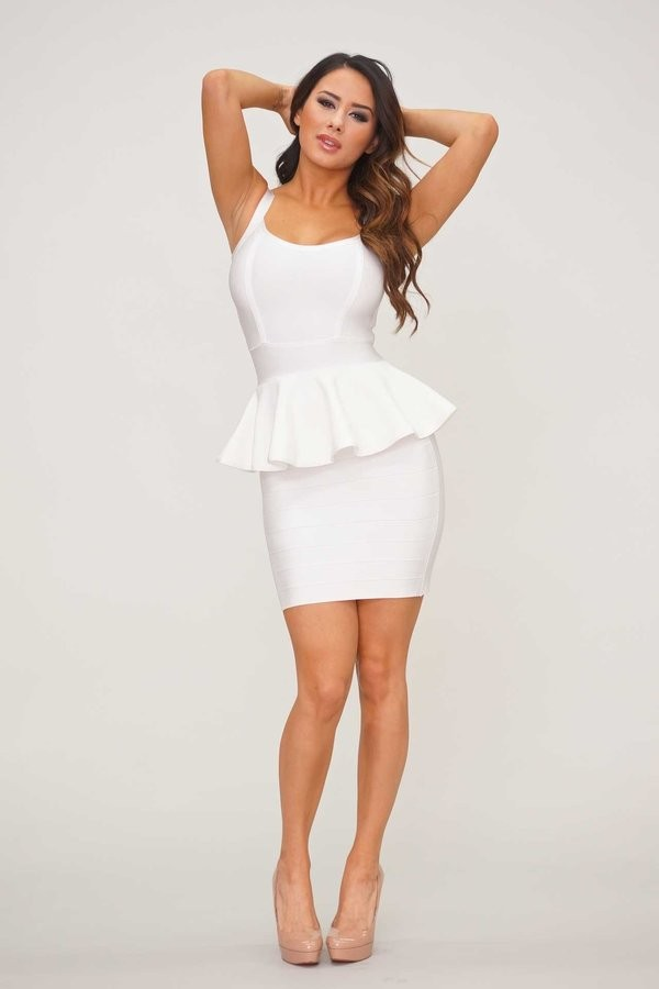 Casedy white peplum bandage dress