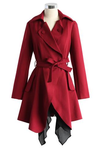 coat tier of stylish waterfall trench in wine chicwish wine chicwish coat
