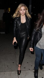 pants,top,all black everything,chloe grace moretz,leather jacket,leather pants,sandals,lace top,lace bra,shoes,jacket,blouse