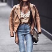 top,tumblr,lace top,necklace,silver necklace,jewels,silver jewelry,jewelry,jacket,nude jacket,leather jacket,denim,jeans,blue jeans,bag