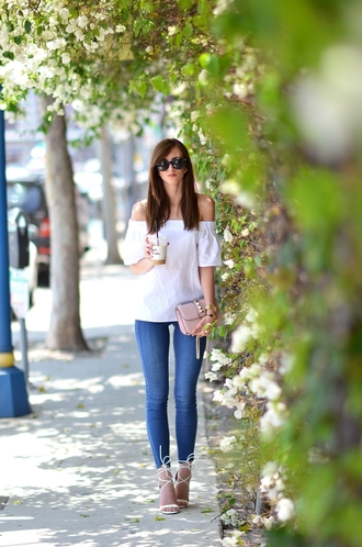 vogue haus blogger top jeans shoes bag sunglasses jewels