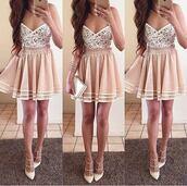 dress,pink,pink dress,shoes,beige dress,white dress,summer dress,prom dress,skirt,the white at the bottom creme skirtirt,skater skirt,skater dress
