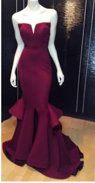 dress burgundy purple prom homecoming strapless sexy elegant floor length long tall slim