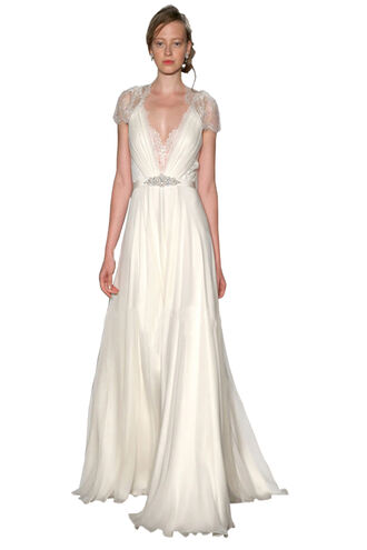 dress the most classical prom dress ivory wedding dress long evening dress v-neck prom dress cap sleeves prom dress long chiffon wedding gowns chiffon bridal dress and prom dress beading belt prom dresses
