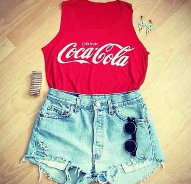 Shorts high waisted denim shorts denim blue shredded denim shorts soda red pretty ...