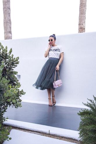 skirt midi skirt tulle skirt t-shirt slogan tee sandals chanel chanel bag blogger blogger style