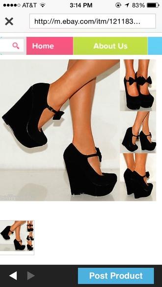 shoes black wedges heels pants
