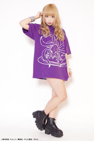t-shirt shirt purple anime naruto kawaii kawaii grunge japan japanese fashion kawaii girl shoes black jewels boots graphic tee