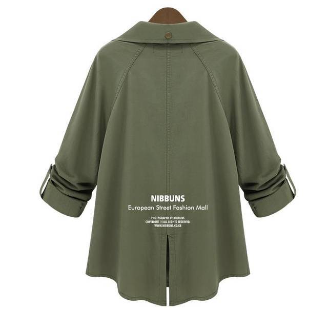 New 2014 european style women winter plus size xl single breasted fashion long sleeve fashion trench coat army green color