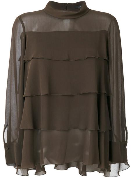 blouse sheer women layered green top