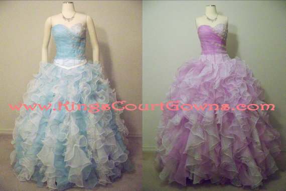 Replica sparkly beaded ruffle organza corset prom quinceanera dress gown