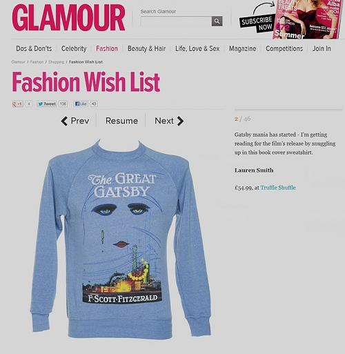 Unisex Blue F. Scott Fitzgerald The Great Gatsby Novel Sweatshirt From Out Of Print : TruffleShuffle.com