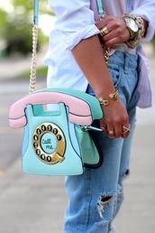 bag,phone figure,pastel colors,jeans,pastel bag,telephone bag,light blue,purse,telephone,telephone shape,pink,phone,aqua,pastel