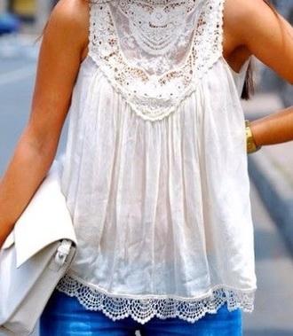 shirt white lace sleeveless