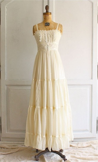 dress boho boho chic boho dress vintage dress cream dress maxi dress pretty dress lace dress