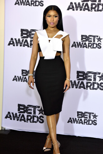 dress black and white nicki minaj bet awards cut-out cut-out dress optical