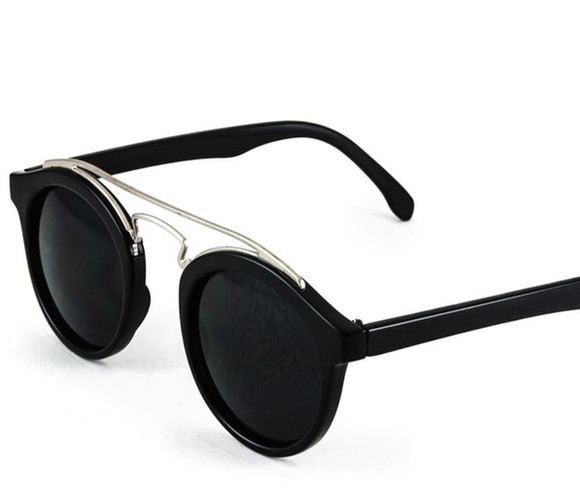 sunglasses black round silver