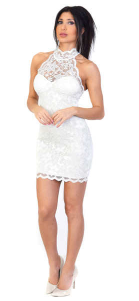 Leya high neck cream lace dress