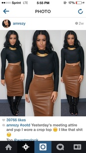 skirt,camel brown faux leather skirt
