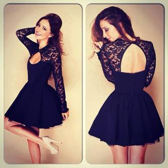 black dress black lace dress black lace long sleeve dress open back dress black short dress short backless dress short prom dress