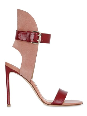 sandals leather suede burgundy shoes