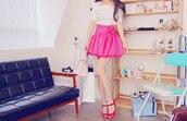 skirt,pink,high waisted
