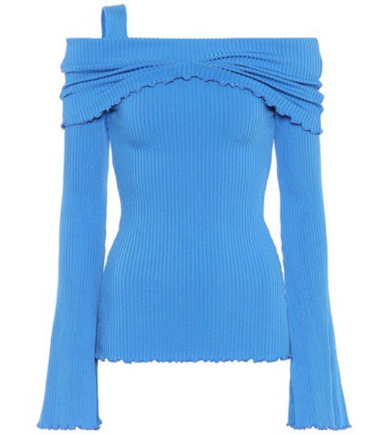 top ribbed top blue