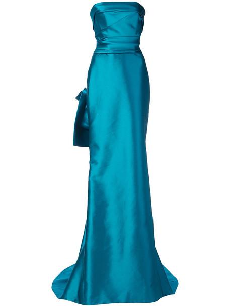 Marchesa dress maxi dress maxi strapless women blue silk