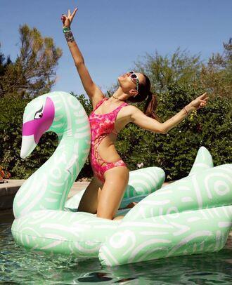 swimwear one piece swimsuit pink swimwear alessandra ambrosio instagram coachella festival music festival