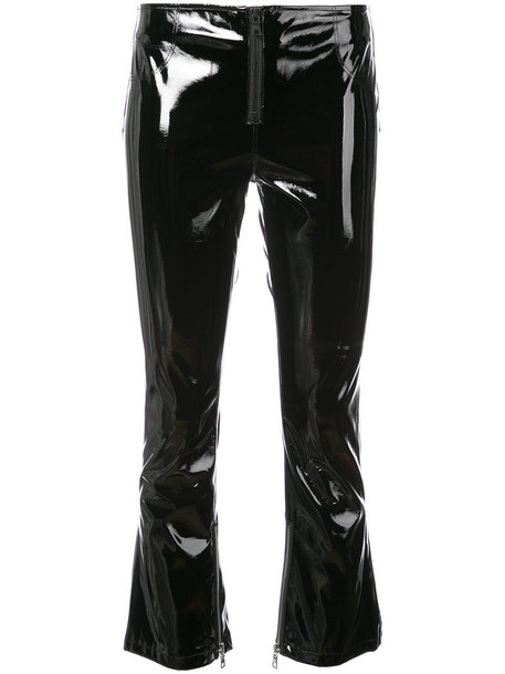 cropped women vinyl black pants