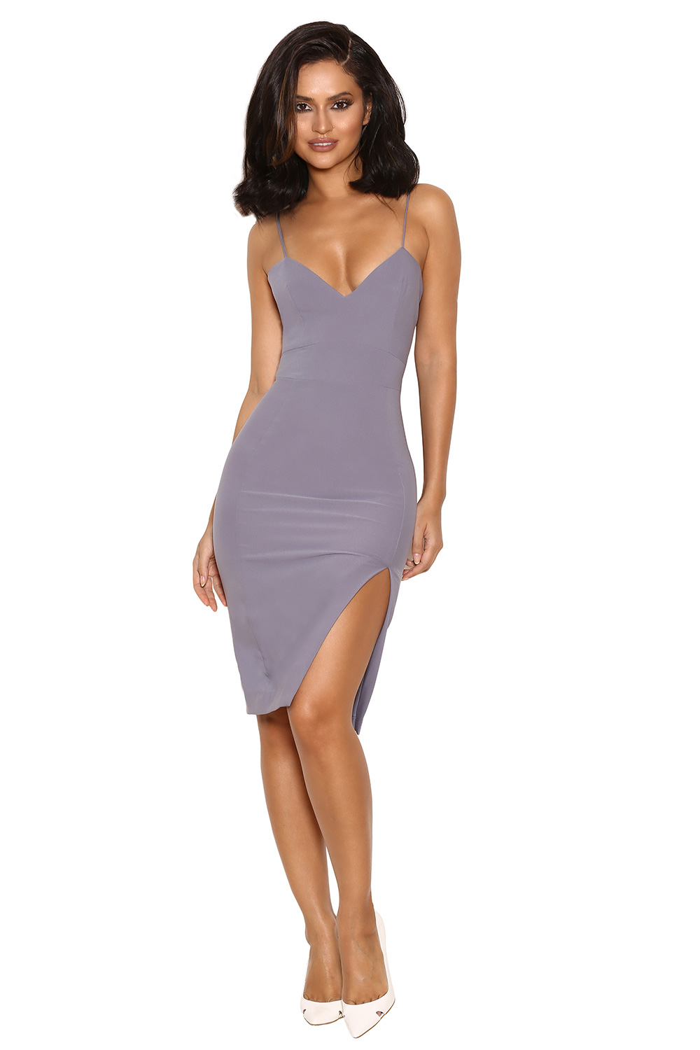 Clothing : Pencil Dresses : 'Raqa' Grey Assymetric Cut Bralet Dress