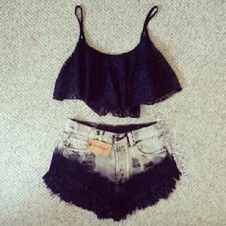 shorts dip dyed black top black lace singlet crop tops