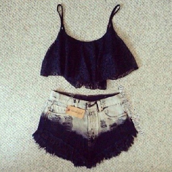 shorts singlet top black black lace dip dyed crop tops
