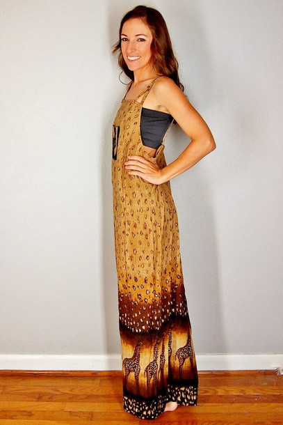 85fefea0ff08 dress giraffe animal print maxi dress jumper overalls brown african  american ethnic boho summer 2015 tan