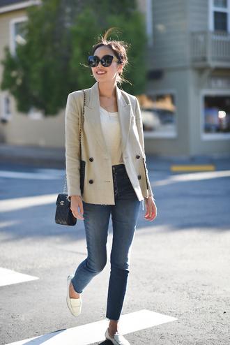 jacket tumblr blazer top white top denim jeans blue jeans sunglasses shoes loafers
