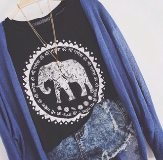 jewels t-shirt cardigan elephant summer outfits black cotton elephant