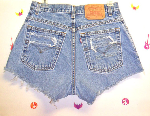 Vintage levis   denim shorts distressed by gypsystreasurecove