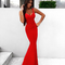 Mermaid evening bandage dress red