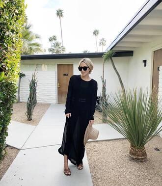 damsel in dior blogger dress sunglasses hat shoes black dress maxi dress sandals