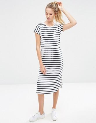 dress asos midi dress stripes clothes striped dress