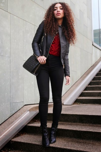 from hats to heels blogger red sweater black jacket black jeans jacket sweater jeans shoes bag red cable knit sweater cable knit black leather jacket leather jacket black bag curly hair brunette