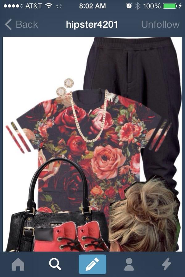shirt floral floral jersey jersey jeans pants t-shirt flowers
