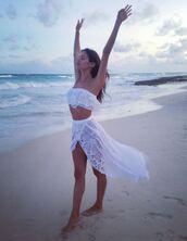 skirt,top,bandeau,lace,white,white top,white skirt,sara sampaio,instagram,beach,summer outfits